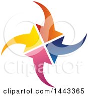 Clipart Of A Group Of Colorful Arrows Comwing Together Royalty Free Vector Illustration