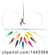 Clipart Of A Worm On A Hook Over Hungry Colorful Fish Royalty Free Vector Illustration