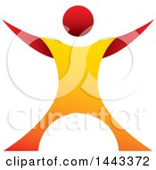 Clipart Of A Gradient Red And Orange Man Standing With His Arms Up And Out Royalty Free Vector Illustration