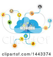 Clipart Of A Cloud And Social Network Design Royalty Free Vector Illustration by ColorMagic