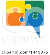 Clipart Of A Speech Balloon Made Of Colorful Jigsaw Puzzle Pieces Royalty Free Vector Illustration