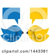 Clipart Of Blue And Yellow Birds Facing Each Other Under Speech Balloons Royalty Free Vector Illustration