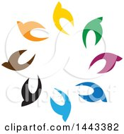 Clipart Of A Circle Of Colorful Birds Royalty Free Vector Illustration