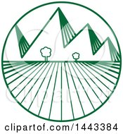 Clipart Of A Green Crops And Mountains Logo Design Royalty Free Vector Illustration