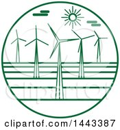 Clipart Of A Green Wind Farm Logo Design Royalty Free Vector Illustration