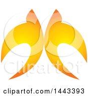Pair Of Golden Swallows Flying Upwards
