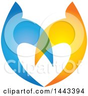 Clipart Of A Pair Of Blue And Golden Swallows Flying Upwards And Forming A Heart Royalty Free Vector Illustration