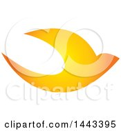Clipart Of A Golden Swallow Bird Flying Royalty Free Vector Illustration