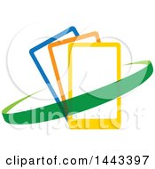 Clipart Of A Green Swoosh Around Blue Orange And Yellow Smart Cell Phones Royalty Free Vector Illustration