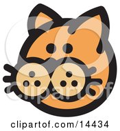 Cute Orange Cats Face Clipart Illustration