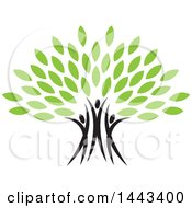 Clipart Of A Tree With Green Leaves And Three People Forming The Trunk Royalty Free Vector Illustration by ColorMagic #COLLC1443400-0187