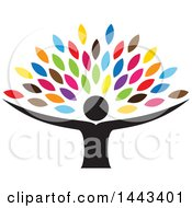 Clipart Of A Tree With Colorful Leaves And A Person Trunk Royalty Free Vector Illustration by ColorMagic