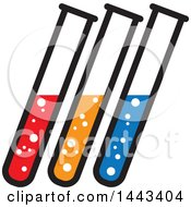 Clipart Of A Trio Of Science Test Tubes Royalty Free Vector Illustration