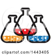 Clipart Of A Trio Of Science Lab Containers Royalty Free Vector Illustration