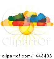 Clipart Of A Sun Shining Through Colorful Clouds Royalty Free Vector Illustration