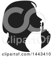 Clipart Of A Black Silhouetted Woman Shushing Royalty Free Vector Illustration
