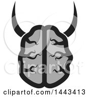 Clipart Of A Gray Human Brain With Horns Royalty Free Vector Illustration