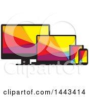 Clipart Of Colorful Television Laptop Tablet And Cell Phone Screens Royalty Free Vector Illustration