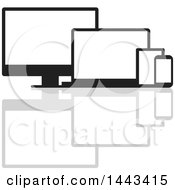 Clipart Of Black And White Television Laptop Tablet And Cell Phone Screens And A Reflection Royalty Free Vector Illustration