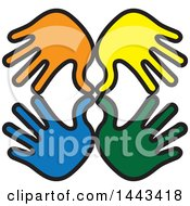 Clipart Of Blue Green Yellow And Orange Hands Royalty Free Vector Illustration by ColorMagic