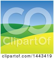 Clipart Of A Hilly Landscape And Blue Sky Royalty Free Vector Illustration by ColorMagic
