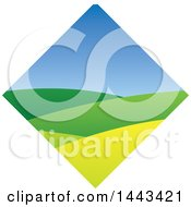 Clipart Of A Hilly Landscape And Blue Sky In A Diamond Royalty Free Vector Illustration