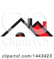 Clipart Of A Red Black And White House Royalty Free Vector Illustration