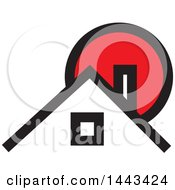 Clipart Of A Red Black And White House And Sun Royalty Free Vector Illustration