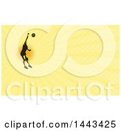 Clipart Of A Retro Female Volleyball Player Spiking Over Halftone And Yellow Rays Background Or Business Card Design Royalty Free Illustration