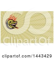 Clipart Of A Cartoon Angry Rattlesnake With Red Flames And Green Rays Background Or Business Card Design Royalty Free Illustration