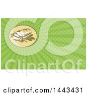 Retro Woodcut Loaf Of Bread With Slices And Knife On A Board And Green Rays Background Or Business Card Design