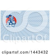 Clipart Of A Retro Knight Holding A Sword And Blue Rays Background Or Business Card Design Royalty Free Illustration