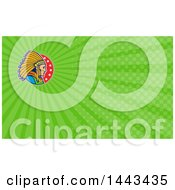 Clipart Of A Cartoon Native American Indian Chief And Green Rays Background Or Business Card Design Royalty Free Illustration