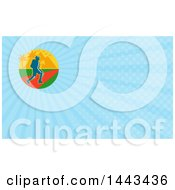 Clipart Of A Male Hiker With Tropical Palm Trees And Mountains And Blue Rays Background Or Business Card Design Royalty Free Illustration by patrimonio