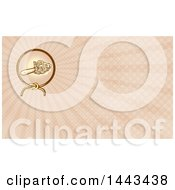 Clipart Of A Retro Chainsaw In A Lasso Ray Circle And Rays Background Or Business Card Design Royalty Free Illustration