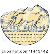 Clipart Of A Mono Line Styled Cougar And Mountains Royalty Free Vector Illustration
