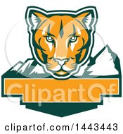 Clipart Of A Retro Green Orange And White Puma Cougar Mountain Lion Face Over Mountains And A Blank Banner Royalty Free Vector Illustration