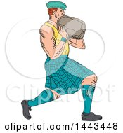 Clipart Of A Sketched Drawing Styled Scotsman Athlete Wearing A Kilt Playing A Highland Weight Throwing Game Royalty Free Vector Illustration by patrimonio