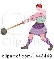 Sketched Drawing Styled Scotsman Athlete Wearing A Kilt Playing A Highland Weight Throwing Game