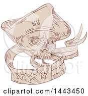 Poster, Art Print Of Sketched Drawing Styled Patriot Soldier Skull With A Ribbon