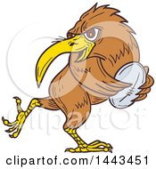 Clipart Of A Sketched Drawing Styled Kiwi Bird Running With A Rugby Ball Royalty Free Vector Illustration by patrimonio