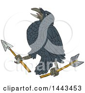 Clipart Of A Sketched Drawing Styled Crow With A Broken Arrow Royalty Free Vector Illustration by patrimonio
