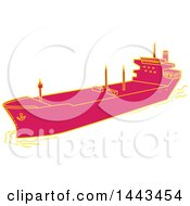 Clipart Of A Mono Line Styled Cargo Container Ship Royalty Free Vector Illustration
