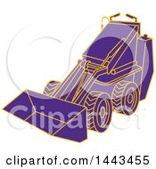 Clipart Of A Mono Line Styled Purple And Orange Compact Skid Steer Machine Royalty Free Vector Illustration
