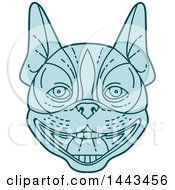 Poster, Art Print Of Mono Line Styled Boston Terrier Dog Face