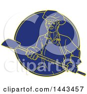 Mono Line Styled Pizza Chef Holding A Peel