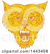 Clipart Of A Mono Line Styled Wolf Head Royalty Free Vector Illustration