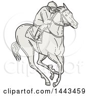 Clipart Of A Mono Line Styled Jockey Racing A Horse Royalty Free Vector Illustration