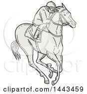 Poster, Art Print Of Mono Line Styled Jockey Racing A Horse