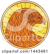 Clipart Of A Mono Line Styled Hawk In A Circle Royalty Free Vector Illustration by patrimonio